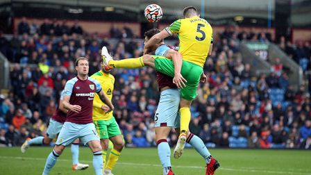 Grant Hanley of Norwich heads for goal during the Premier League match at Turf Moor, BurnleyPictur