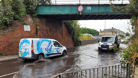 There is standing flood water underneath the bridge in Wherstead Road, Ipswich