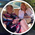 Main: Elsa Clarson with a Rolls-Royce Phantom outside her Thaxted home; Inset: Elsa Clarson with Anne Sutton