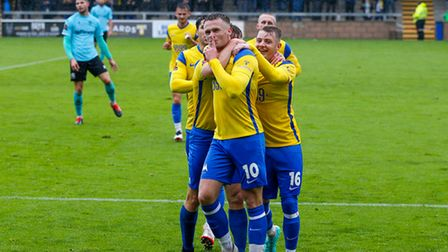 Goal celebrations for Tom Lapslie of Torquay United during the National League match between Torquay