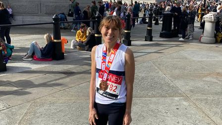 Ilford AC runner Gaye Young after the London Marathon