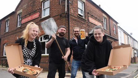 The Stanford Arms landlord, Dominic Burke, second right, with the Dough at Deer Pizza Company team,