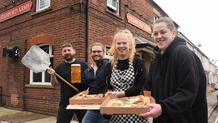 The Stanford Arms landlord, Dominic Burke, second left, with the Dough at Deer Pizza Company team, f