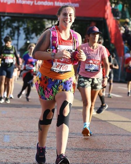 """Laura says she is proud to have completed a challenge which without her spinal cord stimulator """"wouldn't be possible""""."""