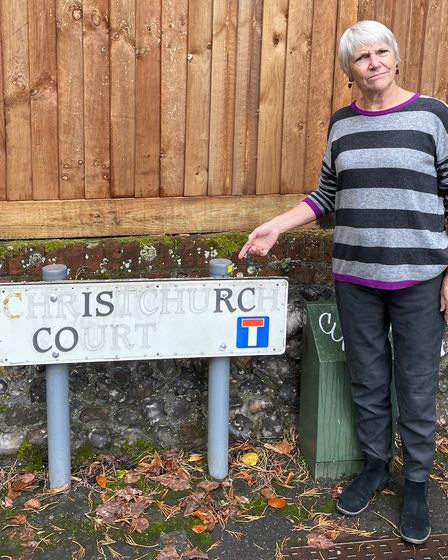 Sue Spooner, stood by the sign for Is Rc Co in Norwich - better known as Christchurch Court