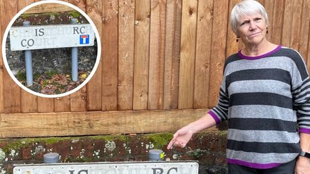 Sue Spooner is hoping the letters on the Christchurch Court sign can be returned so it no longer reads Is Rc Co