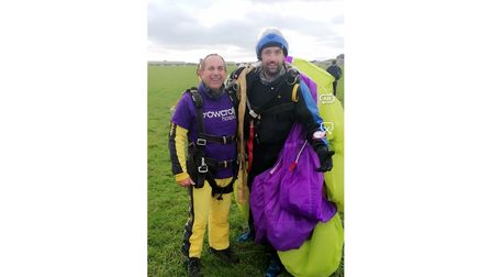 Skydivers after charity jump