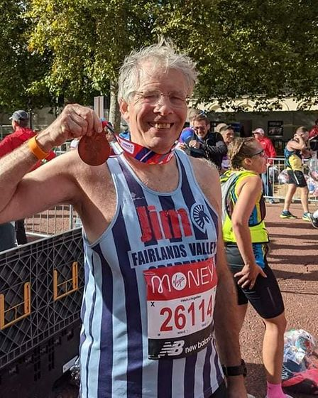 Jim Brown of Fairlands Valley Spartans at the 2021 London Marathon.