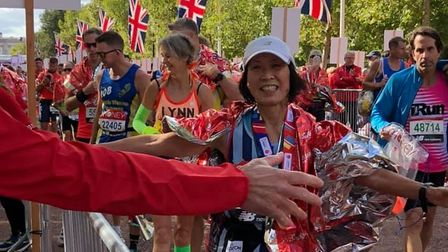 Yuko Gordon of Fairlands Valley Spartans came within a minute of the W70 masters world record at the London Marathon.