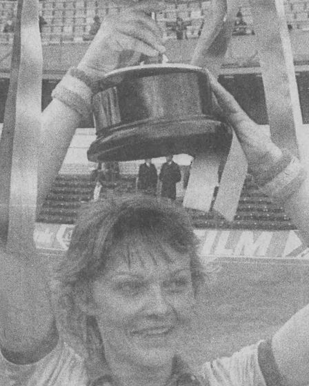 Lowestoft Ladies captain Jackie Slack with the FA Cup