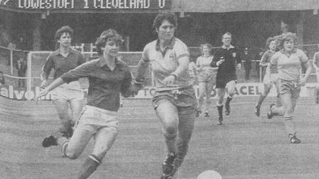 Lowestoft Ladies' Linda Curl (right) on the attack.