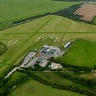 Bodmin airfield's natural hay meadow, aerial view