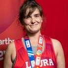 Laura Beaufils-Loader of Stansted at the Virgin Money London Marathon 2021. Photography by DFphotography.co.u