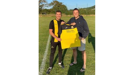 Sporting Weston firsts team manager Adam Palmer with Stuart Turner.