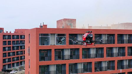 An EHang AAV being used in a high-rise fire drill in China