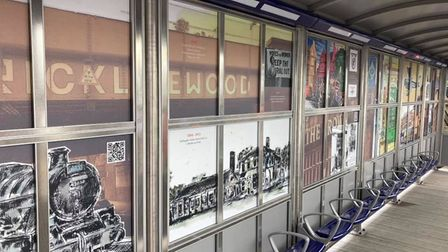 QR codes link the artwork panels at Cricklewood Stationto pages on the Cricklewood Town Team website