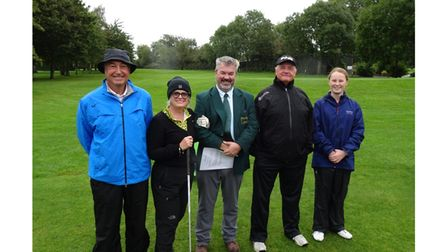 Mixed greensomes finalists Olive, Allen, Parker and Moore with organiser Osman