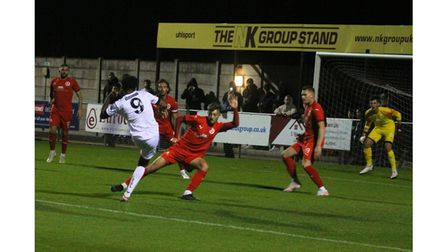 Prince Henry in action for Weston AFC during their Cup tie with Frome Town.
