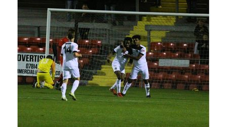 Weston AFC celebrate Adam Smith's equaliser against Frome Town.
