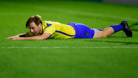 Tom Lapslie of Torquay United looks dejected during the National League match between Boreham Wood a