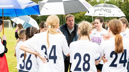 Harry Redknapp delivered a pre-match talk to Stevenage Starlets ahead of their 3-3 draw againstOmonia Youth U14 Girls