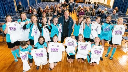 Stevenage Starlets U14s were delighted to be presented with their new kit by football legend Harry Redknapp