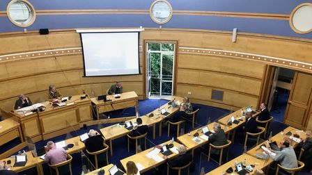 Uttlesford District Council members gathered at the Council Offices in Saffron Walden