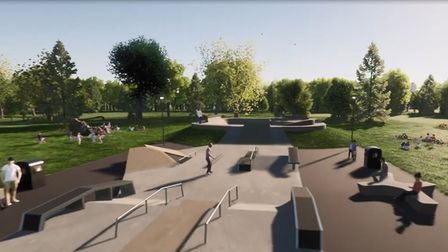 An animated impression of what North Walsham's new skatepark will look like.