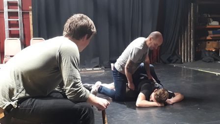 The two murderers dispatching Banquo in Macbeth, a new production by Gallery Players, which runs from October 25-30