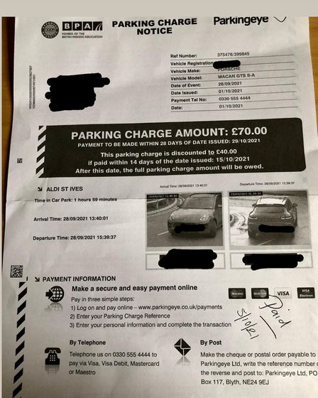 The Car Parking Ticket that Maria was served with
