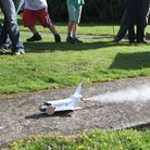 Sidmouth Science Festival 2014. The Air Cadets shuttle rocket speeds to the finish. Ref shs 7794-43-