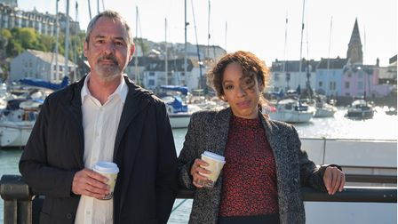 NeilMorrissey and Pearl Mackie of the ITV drama The Long Call, pictured filming in North Devon.