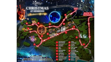 The map of the planned Christmas at Kenwood.