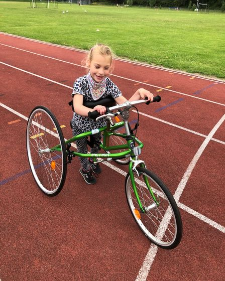Her parents are now fundraising to get Maija her own RaceRunner to help her walk and run independently.