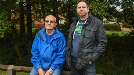 Ivan Lee and Jon Riley, residents from Horsford, who are worried about flooding. Picture: Danielle B