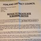 Banning and eviction notice issued by Fenland Council to homelesscamping out in a car park.