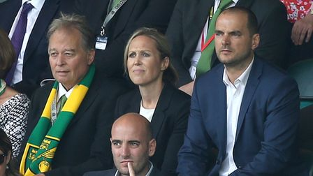 Norwich City Sporting Director Stuart Webber and Neil Adams watch from the stands during the Premier