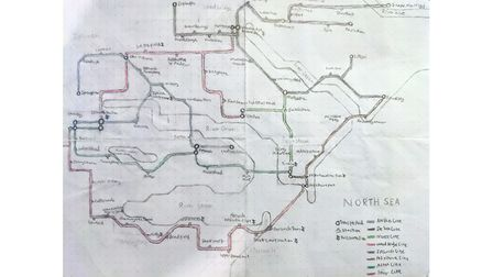 A hand drawn tube map of Ipswich, including the Stour, Orwell and Deben Estuaries, and Felixstowe, Kesgrave and Woodbridge