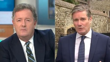Keir Starmer is challenged by Piers Morgan on Good Morning Britain. Photograph: ITV.