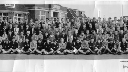 Matthew Freeman (centre back, with his tie hanging out) with his class at North Denes School.