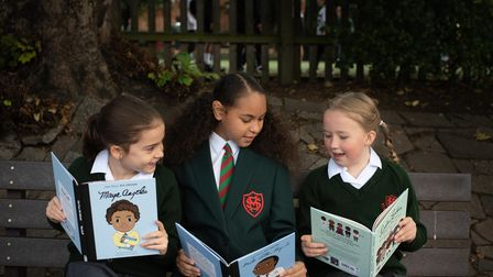 Three friends at St Margarets Primary School have formed a Black history book club. L-R Isla, Aniah