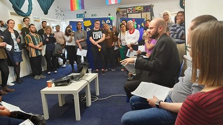 Phil Glanville and project directors speak Mind in the City in Hackney for the launch of an LGBTQI+ mental health service.