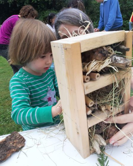 Youngsters built bug hotels at Christ Church in New Greens, St Albans.