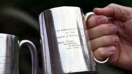 The poignant wartime inscription on one of the tankards presented to the Ipswich and Suffolk Club