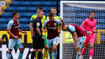 Tempers flare and Matthew Lowton of Burnley against Norwich City