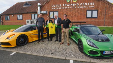 Stuart Webber, Delia Smith, Michael Wynn Jones and Matt Windle at the official opening of the Lotus
