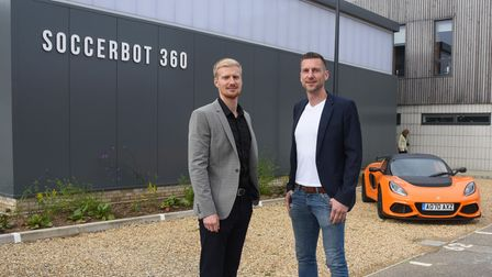 Kevin Stelzer (pictured left), account manager, and Daniel Held, SoccerBot 360 CEO, at Colney