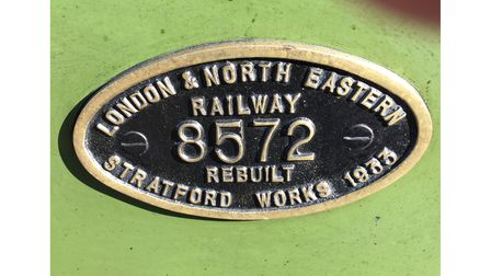 The Works plate for 8572 following its rebuild as a B12/3 in 1933.