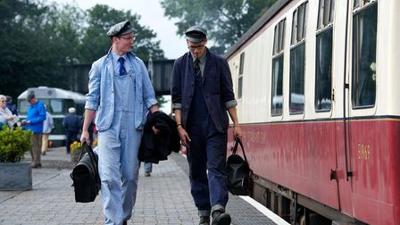 North Norfolk Railway Grand Steam Gala weekend at Sheringham Station. Pictured are Oliver Oakman and