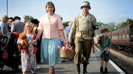 North Norfolk Railway's 1940s weekend in 2013 at Sheringham Station were David and Julie Hines, from